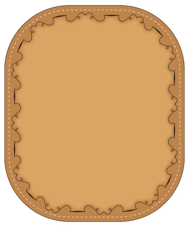 stitching: Vector  brown frame with stitching and pattern