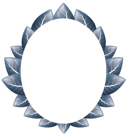 Vector drawing. Oval frame of blue leaves on a white background