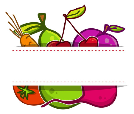 Vector set. Fruits and vegetables in the style of doodle Vector