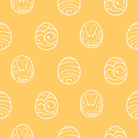 decorated eggs: Vector Easter seamless background. Decorated eggs on a yellow background Illustration