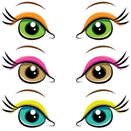 pairs: Set of several pairs of eyes. vector