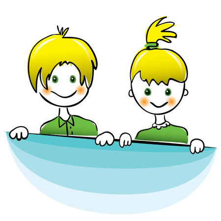 yellow hair: Vector drawing. Happy boy and girl with bright yellow hair Vettoriali