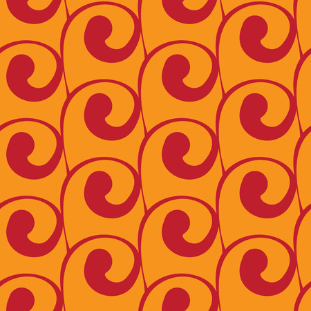 red swirls: Vector seamless square orange background with red swirls