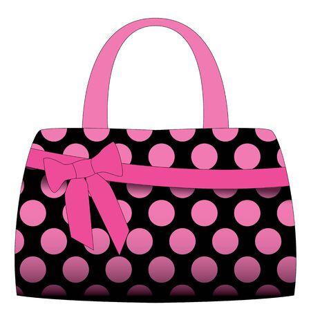 sac à main noir en pois rose sur un fond blanc