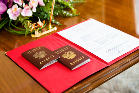 registry: Russian passports on the table in the registry office