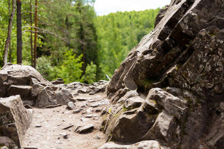 northern nature: path among the rocks. Spring northern nature