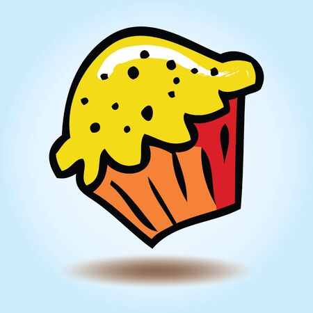 Vector cupcake dangling on a blue background Vector