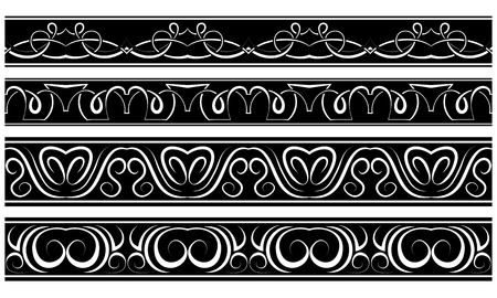 Vector set of borders. White repeating pattern on black Vector