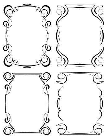 Vector set of four beautiful elegant framework Vector