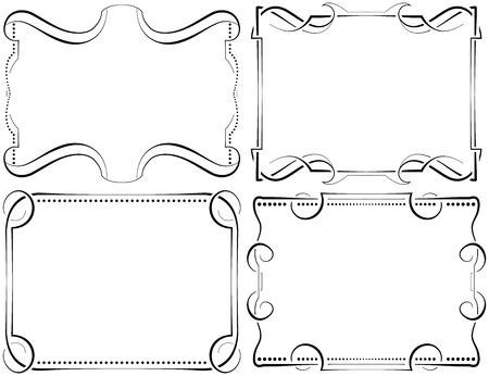 Framework: Set of vector horizontal framework. Black on white