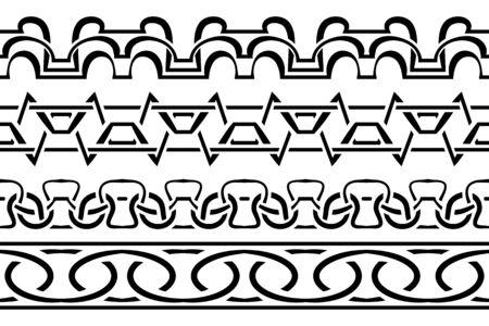 Vector set border. Black seamless pattern on a white Vector