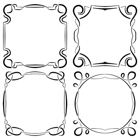 Framework: Vector set of four beautiful elegant framework
