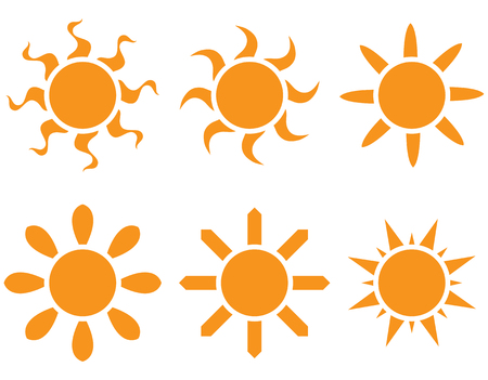 Vector set. The sun in different shapes on a white background Vector