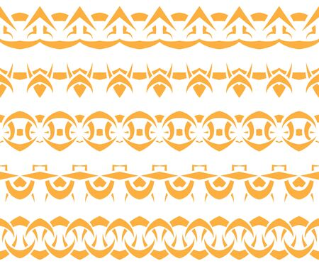 Vector set of yellow Tribal seamless patterns Vector