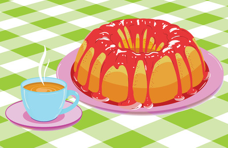 glazed: Vector. Cake with glaze and a cup of hot drink Illustration