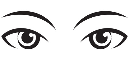 pair female expressive eyes. Vector black Icon