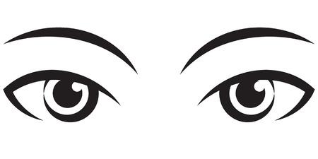 pair female expressive eyes. Vector black Icon