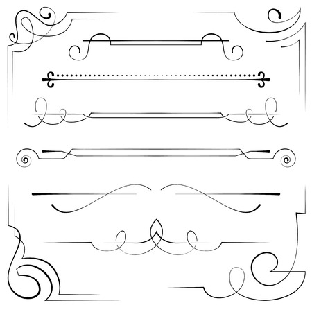 Vintage set vector frame and border with swirls Stock Vector - 40390116