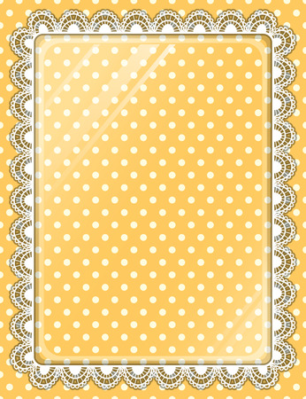 lace vector: Lace vector frame with glass on the background polka dots