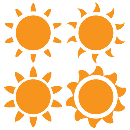 Set of four vector orange sun on a white background Vector