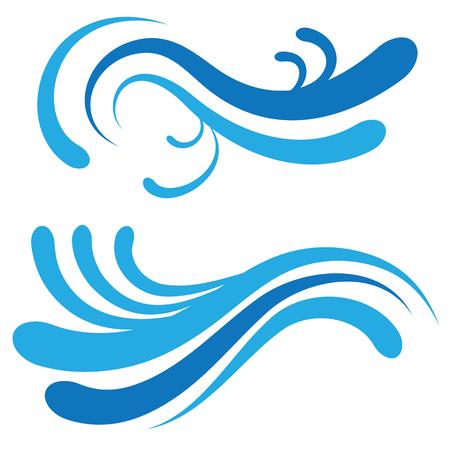undulating: set of undulating patterns. Blue waves on a white background