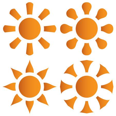 Vector set of orange sun on a white background Vector