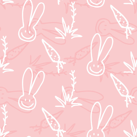 Vector pink Children seamless print pattern of rabbits, carrots and shrubs Vector