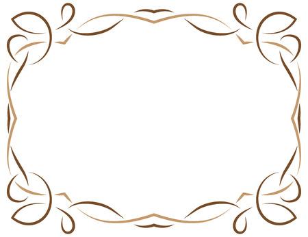 multilayer: Multilayer vector elegant brown frame on a white background
