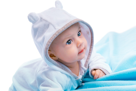 blue blanket: baby in the hood on a blue blanket