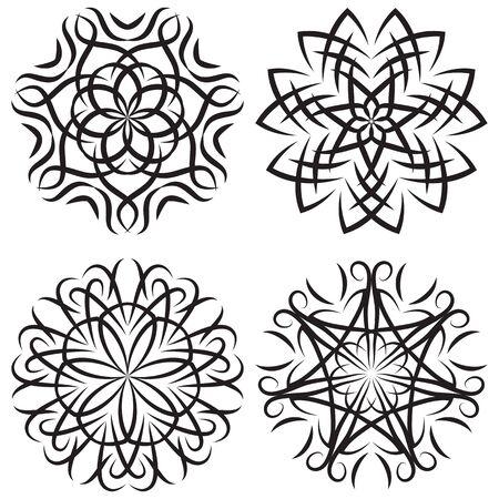 symmetrical: Vector set of symmetrical patterns. Snowflakes or flowers
