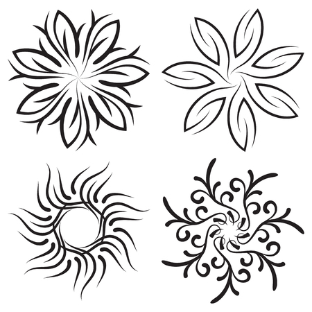 symmetrical: Vector set of symmetrical patterns. Snowflakes or flowers