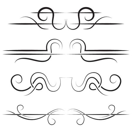 lineas verticales: Vector conjunto de las fronteras elegantes. Negro sobre un fondo blanco