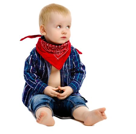 gangster background: Little boy in gangster kerchief around his neck on a white background