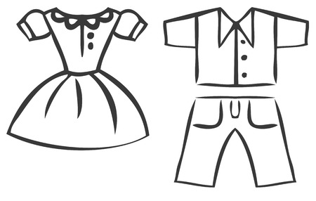 smock: Vector set of cartoon clothes. Dresses, shirts and pants. outline