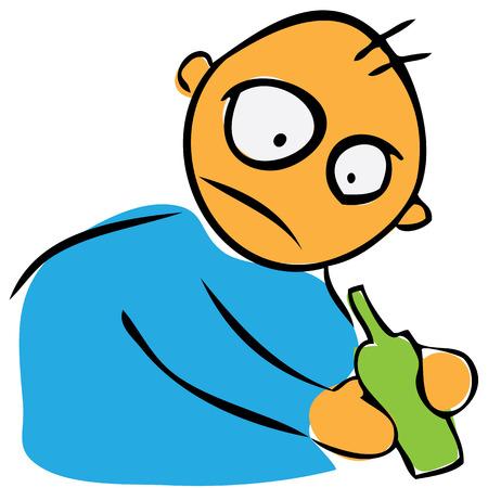 drunkard: Drunkard. Stylized man with a bottle in his hand