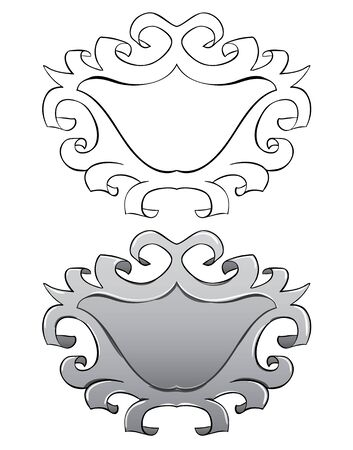 stucco: Vector set. Frame with stucco. Black outline and painted Illustration