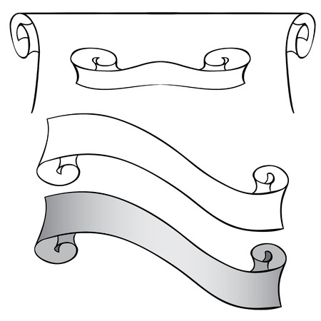scroll: Vector set of scrolls and ribbons. Hand drawing