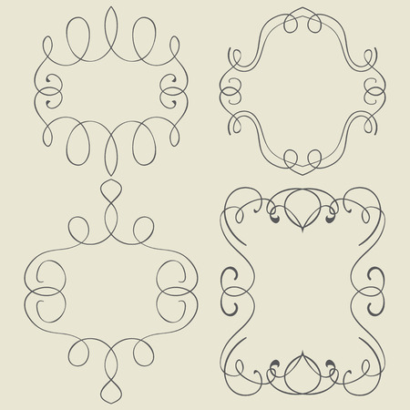 swirl border: Vector set. Frames and borders. Hand drawing