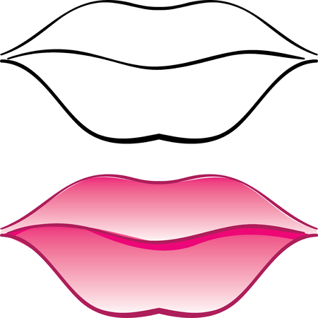 pomade: female lips. Vector illustration on a white background