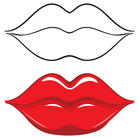 Vector illustration. Sexy red female lips. Set