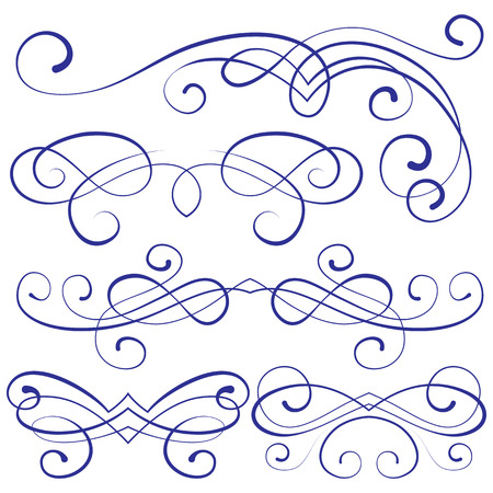 swirl border: vector set: calligraphic design elements and page decoration