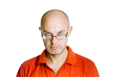 unshaven: Unshaven man in a red T-shirt. Studio. isolated Stock Photo