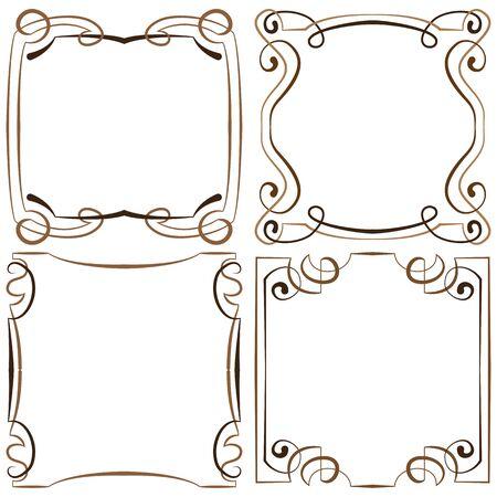 multilayer: vector set of four decorative multilayer frameworks Illustration