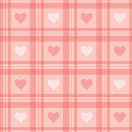 checkered wallpaper: Vector seamless background. Pink checkered wallpaper with hearts.