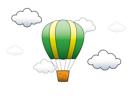 levitation: Bright Hot Air Balloon flying in the sky