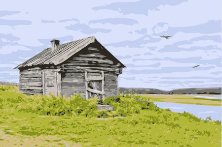 rural scene: Thrown house at the river against the cloudy sky with birds