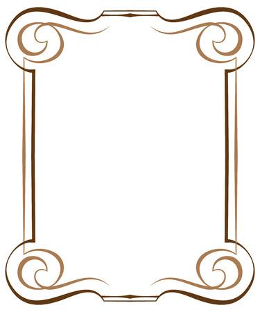 brawn: Vintage brawn multilayer vertical vector frame with swirls