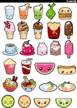 Voedselverzameling set pictogrammen