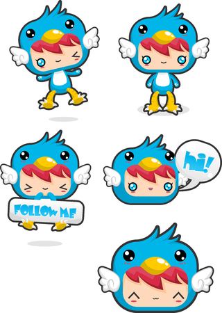 Cute blue bird costume icon
