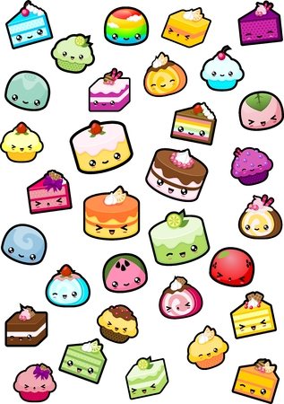 Collection of various cake illustration with cute faces Vectores